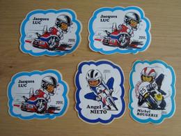 LOT DE 5 AUTOCOLLANTS  PAUL RICARD JACQUES LUC MICHEL ROUGERIE ANGEL NIETO - Stickers