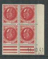France N° 506 XX : Type Maréchal  Pétain : 30 C. Rouge  En Bloc De 4 Coin Daté Du 11 . 10. 41 ;  Sans Charnière, TB - 1940-1949