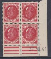 France N° 506 XX : Type Maréchal  Pétain : 30 C. Rouge  En Bloc De 4 Coin Daté Du 27 . 10. 41 ;  Sans Charnière, TB - 1940-1949