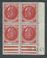 France N° 506 XX : Type Maréchal  Pétain : 30 C. Rouge  En Bloc De 4 Coin Daté Du 30 . 10. 41 ;  Sans Charnière, TB - 1940-1949