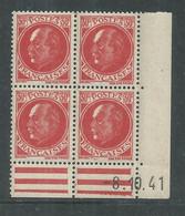 France N° 506 XX : Type Maréchal  Pétain : 30 C. Rouge  En Bloc De 4 Coin Daté Du 8 . 10. 41 ;  Sans Charnière, TB - 1940-1949