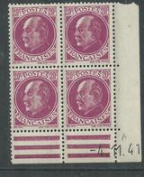 France N° 505 XX : Type Maréchal  Pétain : 20 C. Lilas-rose  En Bloc De 4 Coin Daté Du 4 . 11. 41 ;  Sans Charnière, TB - 1940-1949