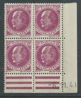 France N° 505 XX : Type Maréchal  Pétain : 20 C. Lilas-rose  En Bloc De 4 Coin Daté Du 6 . 11. 41 ;  Sans Charnière, TB - 1940-1949