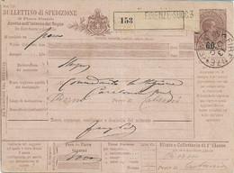 REGNO - BOLLETTINO PACCHI 60/75 DA FIRENZE A ADERNO 13 DICEMBRE 1890 - W3 - Postpaketten