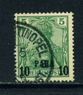 GERMAN PO'S IN TURKEY  - 1900 Germania  Reichspost Definitive 10p On 5pf Used As Scan - Offices: Turkish Empire