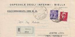 LUOGOTENENZA RACCOMANDATA TARIFFA L. 2,50 DA BIELLA CON 2 LIRE IMPERIALE E 50c ITALIA FASCISTA 17.04.1945 - S21 - Marcofilie