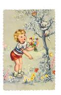 Enfant Avec Bouquet Qui Essaye De Faire Descendre Un Chat D'un Arbre - Photochrom Glacée 818 - AV122 - Retratos