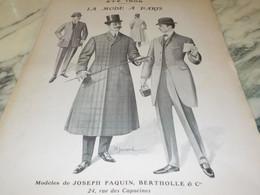 ANCIENNE PUBLICITE MODE A PARIS PAQUIN BERTHOLLE 1906 - Chocolat