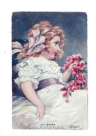 Les Roses - Jeune Fille Avec Bouquet De Roses - AV374 - Retratos
