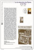 """"""" LOI DE SEPARATION EGLISES  / ETAT """" Sur Document Philatélique Officiel De 2005  (Prix à La Poste 5 €)  N° YT 3860 - 2000-2009"""