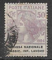 REGNO 1924 - ENTI PARASTATALI CASSA NAZIONALE ASSIC. INF. LAVORO 50c USATO - P23 - Afgestempeld