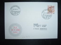 LETTRE TP POSTE AVION 60 OBL.30 5 88 6763 MAIRENGO Chiesa Parrocchiale Monumento Storico - Postmark Collection