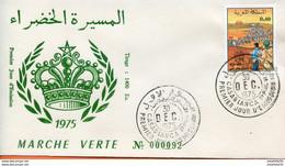 """Maroc;FDC 1975; TP N°745 """" Marche Verte """"Morocco;Marruecos - Morocco (1956-...)"""