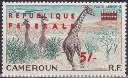 Timbre Aérien Gommé Neuf** De 1947-55 Surchargé Réunification Girafes Dans La Savane - PA 49 (Yvert) - Cameroun 1961 - Camerun (1960-...)