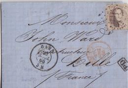 Belgique, Lettre De Gand 23 Avril 66 Pour Lille, TP 10c Brun Obl. Losange 141 + Cachet D'Entrée Rouge Et PD - 1865-1866 Linksprofil