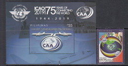 2019 Philippines ICAO Aviation Complete Set Of 1 + Souvenir Sheet MNH - Philippinen