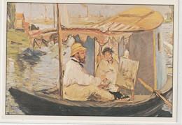 CHROMOS Tableau 34 : Claude Monet Dans Son Bateau Atelier Huile Sur Toile De 1874 De Manet Edouard - Otros
