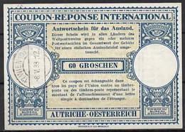 AUTRICHE AUSTRIA ÖSTERREICH 1933,Lo9 60 GROSCHENInternational Reply Coupon Reponse Antwortschein IAS IRC o WIEN - Postwaardestukken