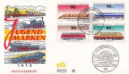 Deutschland Germany 15.04.1975 FDC Jugendmarken Trains - Trains