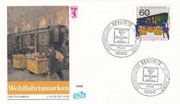 Deutschland Germany 27-09-1990  FDC Wohlfahrtsmarken - Trains