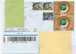 Serbia 2021, Beograd (Belgrade)  Registered To U.K. Multiple Decorative Stamps - Interesting - Serbia
