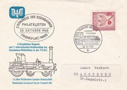 Deutschland Germany 1965 Cover / Brief - 2. Kongress Eisenbahner Philatelisten, Frankfurt Am Main - FISAIC / Congres - Trains