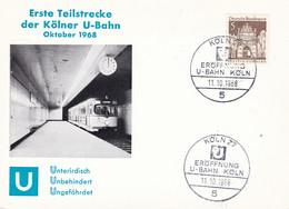 Deutschland Germany Spec Canc 11.10.1968 Kölner U-Bahn Card - Trains