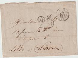 4377 Lettre 1852 Roubaix Taxe Taxée 25 Pour Lille Defrenne - 1849-1876: Periodo Classico