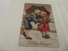 Cpa Gaufré Bonne Fête Neige Enfants - Nieuwjaar