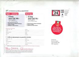 Carte Entiere Timbre Personnalisé Chiffre 24 Publicite Journal 24 Heures  Vignette Aitoroure Suisse - Postmark Collection