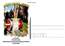 POLONIA POLAND POLSKA - 2011 Cartolina Poste Polacche Monumento A S. CATERINA D'ALESSANDRIA Patrona Ferrovieri - 1289 - Trains