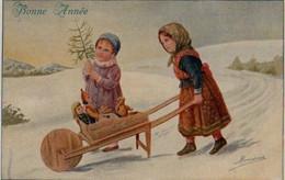 Belle Illustrée Signée RONDINA : Enfants à La Brouette Pleine De Jouets . Neige . - Retratos