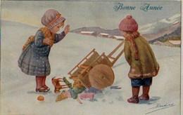 Belle Illustrée Signée RONDINA : Enfants à La Brouette Pleine De Jouets Renversée  . Neige . - Retratos