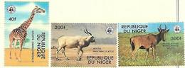 Niger  1978  Sc#447, 451-2   WWF  Wildlife   MNH  2016 Scott Value $19 - Nuevos