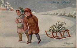 Belle Illustrée Signée RONDINA : Enfants Au Traineau De Sapin  . Neige . - Retratos