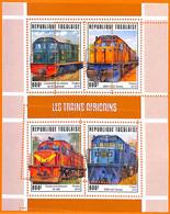 A7127 - TOGO, Error, 2019, MISPERF MINIATURE SHEET: Trains, Locomotives - Trains