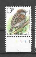 OCB 2533 Postfris Zonder Scharnier ** Met Plaatnummer 1 - 1985-.. Vogels (Buzin)