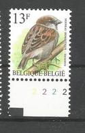 OCB 2533 Postfris Zonder Scharnier ** Met Plaatnummer 2 - 1985-.. Vogels (Buzin)