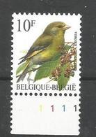 OCB 2461 Postfris Zonder Scharnier ** Met Plaatnummer 1 - 1985-.. Birds (Buzin)