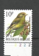 OCB 2461 Postfris Zonder Scharnier ** Met Plaatnummer 2 - 1985-.. Vogels (Buzin)
