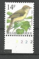 OCB 2623 Postfris Zonder Scharnier ** Met Plaatnummer 2 - 1985-.. Vogels (Buzin)