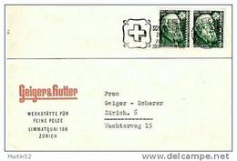 Schweiz Suisse 1943: Zu WI 101 Mi 412 Yv 380 O 100 JAHRE SCHWEIZERISCHE POSTMARKEN: AUSSTELLUNG ZÜRICH 27.II.-7.III.1943 - Covers & Documents