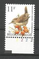 OCB 2449 Postfris Zonder Scharnier ** Met Plaatnummer 2 - 1985-.. Vogels (Buzin)