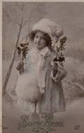Vraie Photo Glacée : Petite Fille, Fourrures, Houx, Manchon, Neige - Retratos