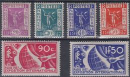 FRANCE : SERIE EXPO PARIS 1937 N° 322/327 NEUVE * GOMME AVEC CHARNIERE - Ungebraucht