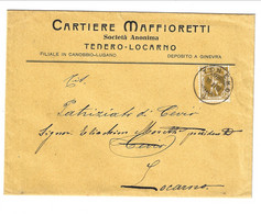 1908 AD Cover Cartiere Maffioretti From Tenero To Cevio - Locarno - Storia Postale