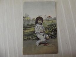 Cpa Fantaisie Portrait Jeune Enfant Sur Son Cheval Jouet - Retratos