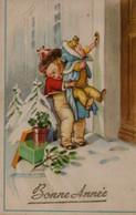Illustrée Siugnée MAUZAN : Deux Enfants Tirant La Sonnette . Neige . - Mauzan, L.A.