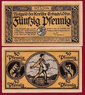 Allemagne 1 Notgeld  De 50 Pf  Stadt  Erbach  ( RARE) Dans L 'état   Lot N °338 - Collections