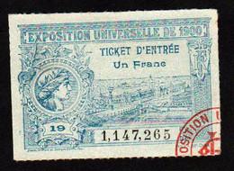 France: Exposition Universelle De 1900. Ticket D'entrée Illustré De 1F. Spl/neuf - Tickets D'entrée